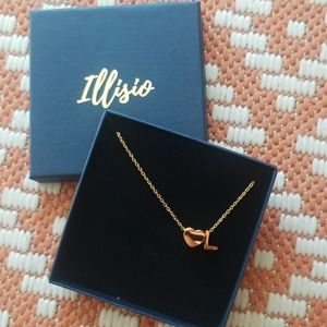 Layering necklace Gold Initial + Heart NWT $49